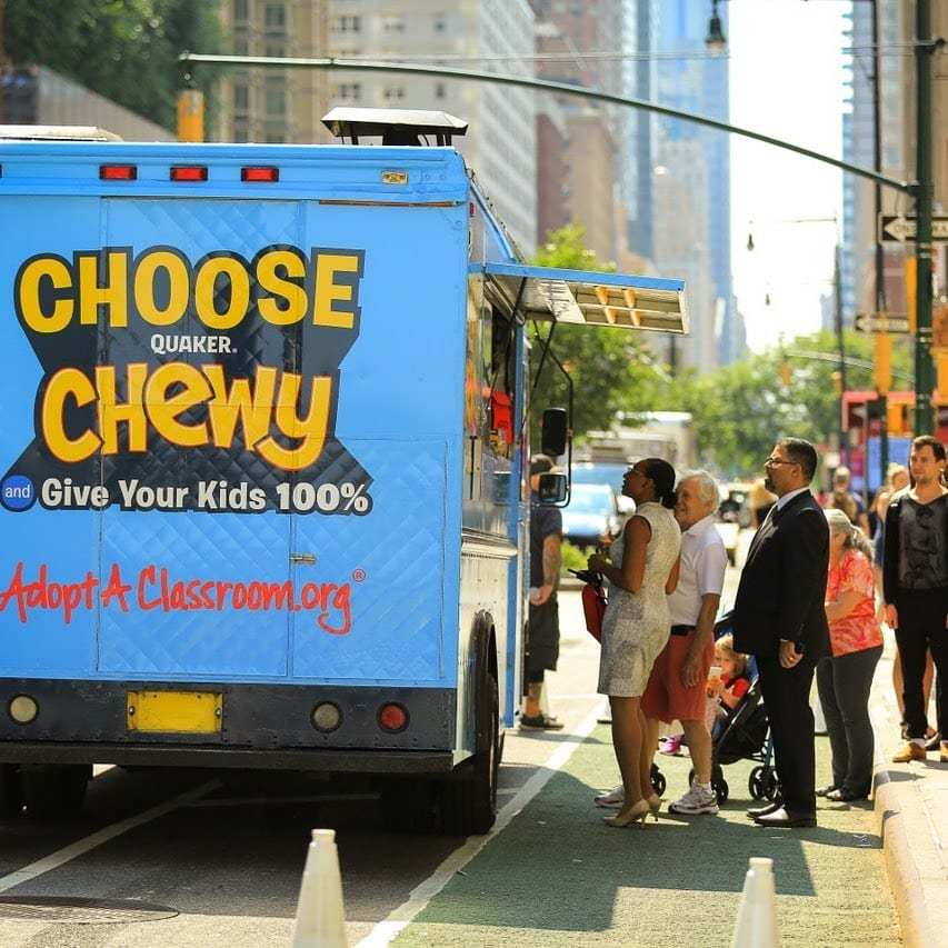 quaker chewy branded food truck offline marketing ideas